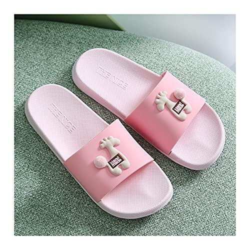 Lino Pantuflas Inicio Damas de interior Zapatillas de baño suave Baño antideslizante Deslizadores de ducha con decoración linda de jirafa Zapatillas de playa silenciosa ligeras Zapatillas de Mujer y H