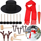 21 Pieces Christmas Snowman Costume Set Includes Snowman Hat Scarf Eyes Mouth Button Carrot Nose Pipe Antlers for Christmas Supplies