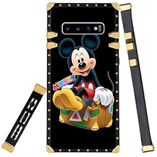 DISNEY COLLECTION Funda cuadrada para Samsung Galaxy S10+ TPU Bumper Cojín Bumper Bumper Bumper Bumper Decoración Oro Esquina Cover Disney Mickey Mouse Clubhouse