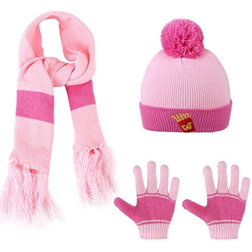 VBIGER Kids 3-Pieces Knit Hat + Scarf + Gloves Set Winter Warm Set for Boys Girls Pink