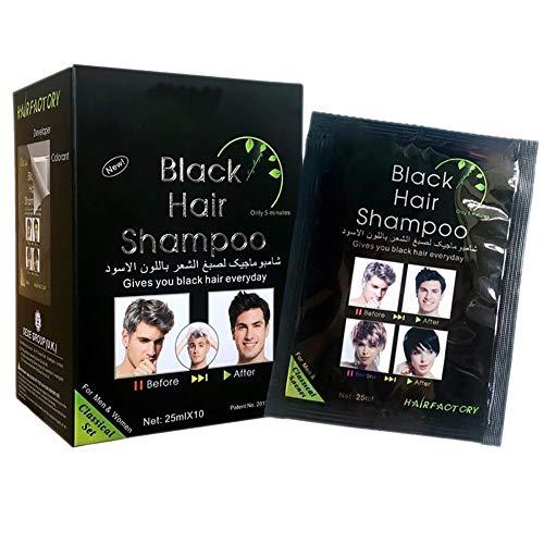 MOLEK Black Hair Shampoo - Natürliche Inhaltsstoffe Instant Schwarze Haarfärbemittel Farbcreme, Letzte 30 Tage, Haarschaden nicht beschädigt, 25x10ml