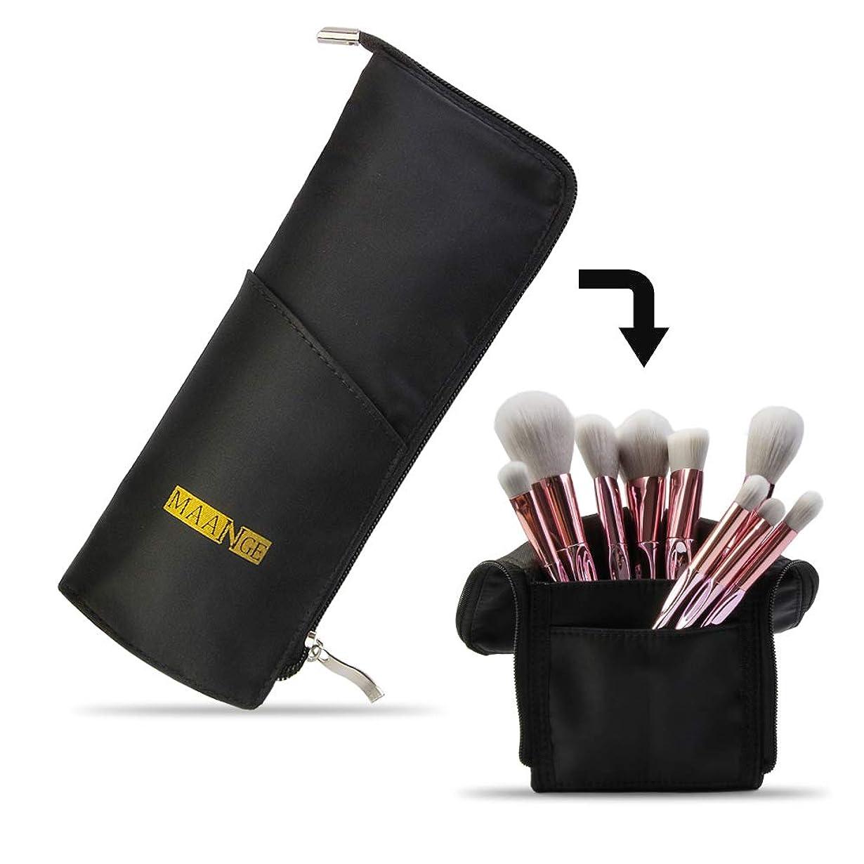 有効なツール透けて見えるMAANGEメイクブラシケース ペンケース 化粧筆ポーチ メイクポーチ 多機能収納バッグ 筆箱 小物入れ メイクブラシホルダー旅行 化粧バッグ(ブラック)