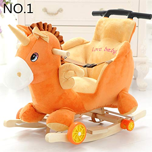 Strolex - Mecedora de madera para niños, diseño de caballo balancín de doble uso, silla mecedora...