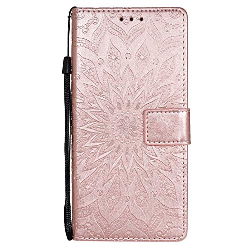 LJP Funda Samsung Galaxy A42 5G Carcasa Libro con Tapa Flip Folio Case de PU Cuero Silicona Soporte Plegable Ranuras Tarjetas y Billetera Magnético Ultra-Delgado Cover para Samsung A42 5G - Oro Rosa