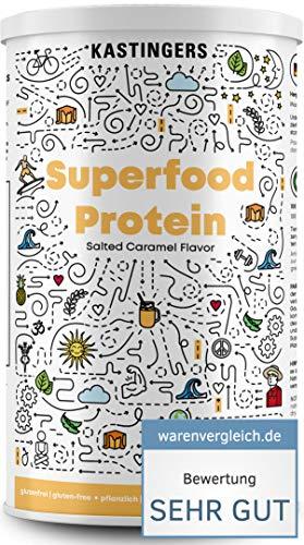 Kastingers® Superfood Protein Vegan I Salted Caramel I Veganes Proteinpulver aus Erbsenprotein und Reisprotein plus I Maca, Chia & Kurkuma I Vegan Protein Made In Germany I 450g
