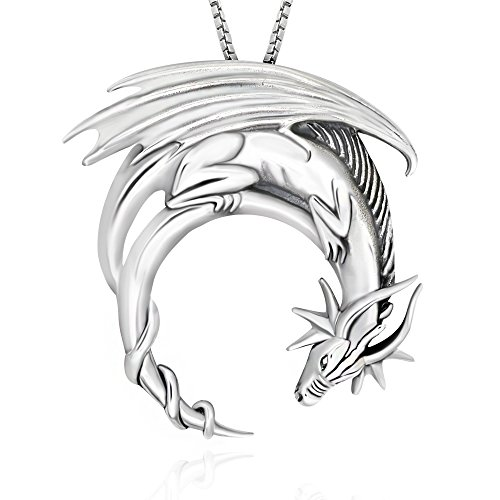 925 Sterling Silver Fantasy Dragon Pendant Pendant Necklace