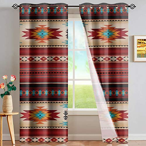 FUSURIRE 52 x 63 Inch Curtains for Living Room Bedroom Southwestern Aztec Pattern Window Drapes for Girls Women Native American Style Blackout Curtains, Small Size-2 Panels