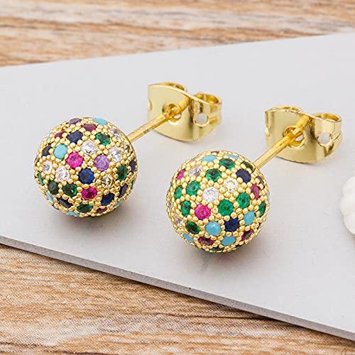 SONGK Pendientes con Forma de Bola Pendientes de circonita de Cobre con arcoíris de Cristal Brillante Colorido para Mujer, joyería de Fiesta y Boda