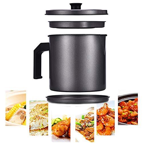 MAI&BAO Filtro Aceite Cocina Acero Inoxidable, Graseras de Cocina con Malla Fina Colador y Tapa Aceite Olla de Colador de Aceite de Acero Inoxidable,black1.6L