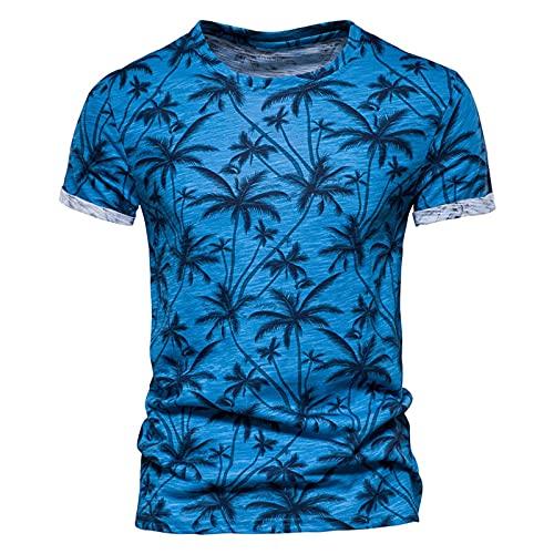neiabodos Camiseta de manga corta para hombre con cuello en V Slim Fit con cremallera lisa de verano de manga corta, turquesa, L