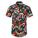 Ocuhiger Camisa Hawaiana para Hombre con 3D Estampado Casual Camisas De Playa Manga Corta Cuello De Solapa Botón Standard Fit Shirt Vacaciones Unisex Niños Hojas Florales Rojo Azul Oscuro-L
