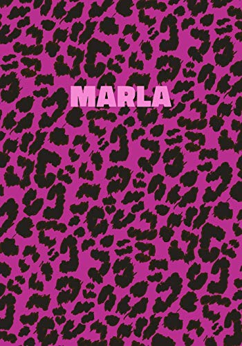 Marla: Personalized Pink Leopard Print Notebook (Animal Skin Pattern). College Ruled (Lined) Journal for Notes, Diary, Journaling. Wild Cat Theme Design with Cheetah Fur Graphic