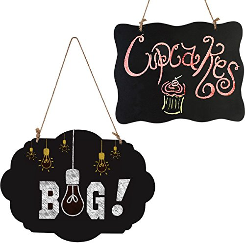 T-Antrix Chalkboard Signs, Wooden Double Sided Message Board with Hanging String-2 Pack