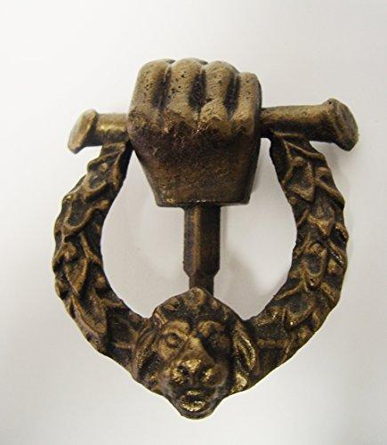 Türklopfer Gußeisen Nostalgie antik Motiv:Hand/Kranz/Hund B:13cm
