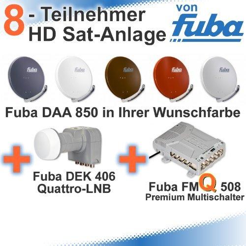 Fuba DAA 850 HD Sat Anlage - 8 Teilnehmer (FMQ 508) - Sat Anlage bestehend aus Fuba DAA 850 in Ihrer Wunschfarbe + Fuba DEK 406 Quattro LNB + Fuba FMQ 508