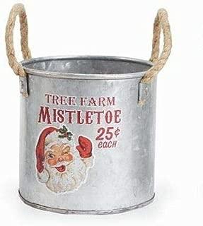 Mud Pie Christmas Santa Small Vintage Tin Bucket - 42600408 Choose Design (Santa Face)