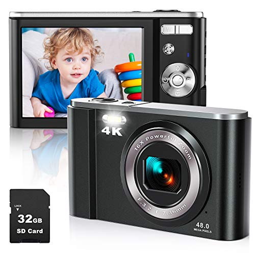 Cámara digital compacta cámara 4K HD con 32GB 48MP 2.88' LCD recargable LCD Vlogging Mini Digital Zoom Camera 16x para niños, personas mayores, adultos, principiantes