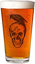 Personalized beer glass - Raven Poe Pint Glass, 16 oz. Drinking Glass| For decorative party supplies | Gift ideas for dad, mom, husband, wife | Best Bar Craft Beer Mug