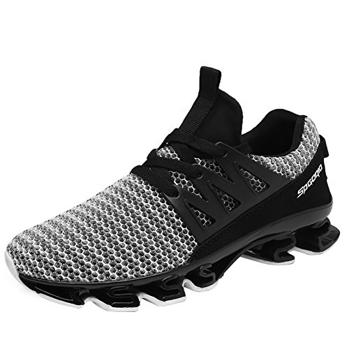 GOMNEAR Mens Running Shoes Breathable Mesh Lace-up Casual Fashion Athletic Walking Big Size Sneakers,Grey-44