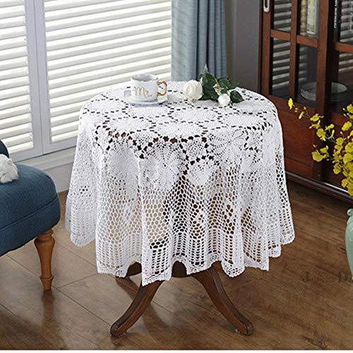 NVT Cubierta de la tabla superior Nórdico Pastoral mantel de encaje ganchillo redondo manteles servilletas de comedor de Navidad mantel decorativo, blanco, 200 cm redondo