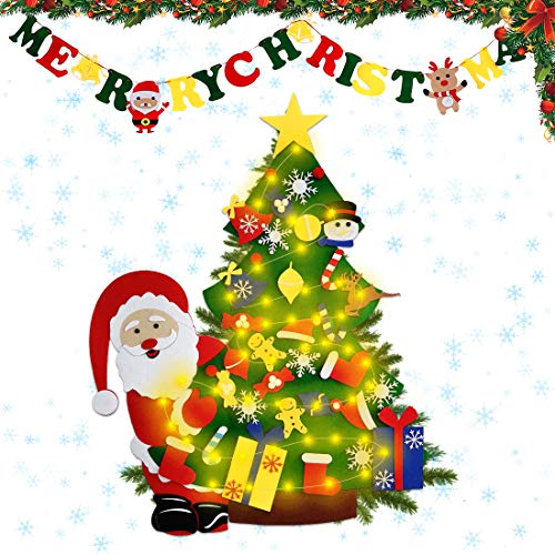 HomLux 3ft DIY Felt Christmas Tree Set with Light String Merry Christmas Banner 30pcs Ornaments for Kids Xmas Wall Decoration Home Outdoor Decor Party Supplies