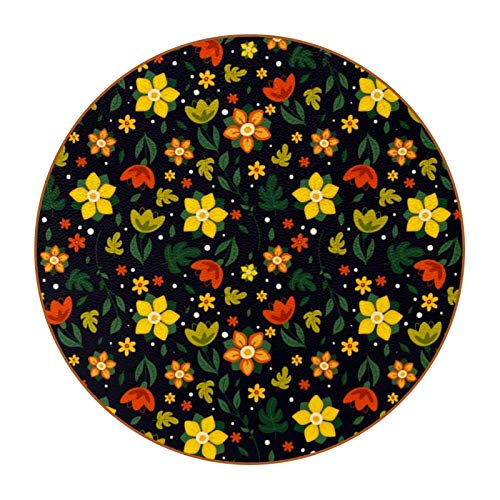 6 posavasos redondos para bebida, alfombrilla de protección para tazas, oficina, cocina, antideslizante, con estampado de flores de colores