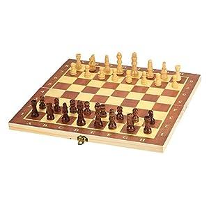 Lixada Tragbare Holz Magnetische Schachbrett Klappbrett Schachspiel Internationalen Schachspiel Für Party Familie Aktivitäten (gewöhnlichen holz 300 * 150 * 28 cm)
