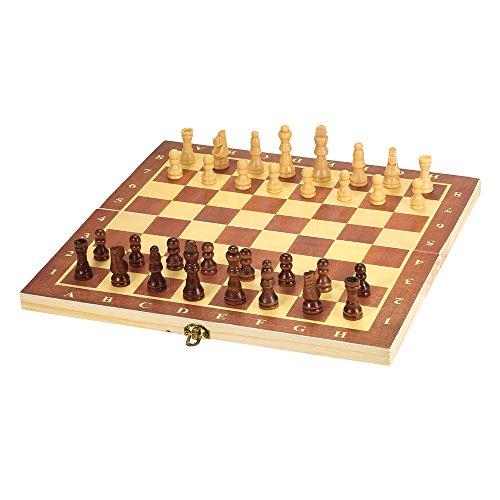 Lixada Tragbare Holz Schachbrett Klappbrett Schachspiel Internationalen Schachspiel Für Party Familie Aktivitäten ,Schönes Weihnachtsgeschenk für Kinder,300 * 150 * 28 cm