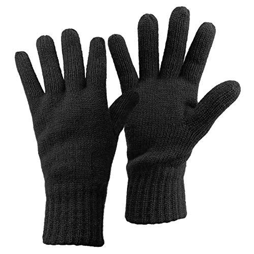 ALPIDEX Thermo Strickhandschuhe Thinsulate Handschuhe Damen Herren Warme Winter Handschuhe, Größe:M, Farbe:Black