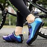 Zapatillas de Ciclismo de Carretera para Hombre Zapatillas de Ciclismo con Tacos Zapatillas de Pelotón Compatibles con SPD y Delta para Zapatillas de Ciclismo (Blue,EU46-UK12)