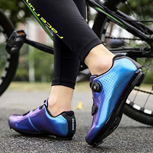 Zapatillas de Ciclismo de Carretera para Hombre Zapatillas de Ciclismo con Tacos Zapatillas de Pelotón Compatibles con SPD y Delta para Zapatillas de Ciclismo (Blue,EU42-UK8.5)