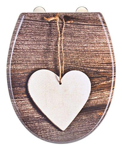 Eisl WC Sitz WOOD HEART, Duroplast, mit Absenkautomatik und Schnellverschluss, Motiv, ED69WHEART