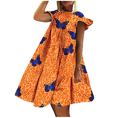 여성 여름 BOHO 꽃 프린트 T 셔츠 드레스 스퀘어 넥 프릴 슬리브 루스 캐주얼 롱 맥시 드레스
