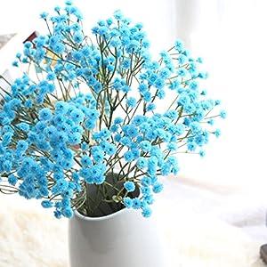 Silk Flower Arrangements Vibola Four Seasons Sky Star Flower Artificial Silk Fake Flowers Baby's Breath Floral Wedding Bouquet Party Decors(Vase not Included) (Blue)