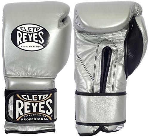 Cleto Reyes Hook and Loop Boxhandschuhe mit Klettverschluss, Gewicht:14 oz, Farbe:platin