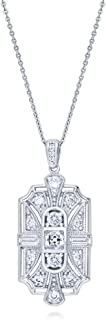 Rhodium Plated Sterling Silver Cubic Zirconia CZ Art Deco Milgrain Wedding Pendant Necklace