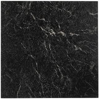 NEXUS 12x12 Self Adhesive Vinyl Floor Tile - 20 Tiles/20 Sq.Ft. (Black with White Vein Marble)
