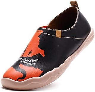 UIN Chaussures Hommes Femmes Cuir Microfibre Ultra-léger Loafers Chaussures de Sport Peint Originales Confort Voyage Plate...