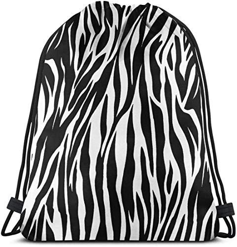 KINGAM Bolsa de gimnasio con textura de cebra para mujeres y hombres, mochila con cordón con bolsillos impermeable de nailon bolsa grande