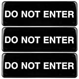 Do Not Enter Sign: Easy to Mount Informative Plastic Sign with Symbols 9'x3', Pack of 3 (Black))