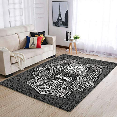 Haythan Alfombra duradera Viking Odin Dragon Super Cute Comfortable – para decoración del hogar, color blanco, 91 x 152 cm