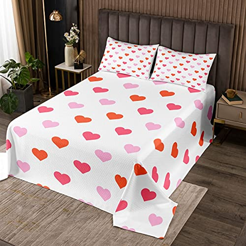 Erosebridal Love Heart Quilted Queen Size Cute Kawaii Coverlet Set for Kids Girls Teens Room Decor, Pink Red Geometric Heart Bedspread Soft Microfiber Quilt Set with 2 Pillow Cases