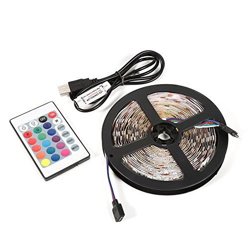 EVTSCAN Tira de luz LED USB con Cuentas led de 300 Piezas, 5M 5V RGB 5050 Lámpara de decoración de luz de Fondo de TV con luz de Tira LED USB con Control Remoto de 24 Teclas(Non-Waterproof)