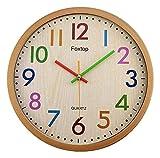 HongLianRiven Reloj de Pared Números Coloridos Redondo Silent Wall Reloj silencioso Tick-Free Wall Wall Room Habitación Dormitorio Fácil de Leer Reloj Decoraciones para el hogar