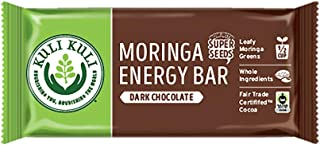 Kuli Kuli Moringa SuperFood Energy Bar, Dark Chocolate, 1.6 Ounce Bars (Box of 12) Vegan and Gluten-Free Energy Bar, Contains Half a Cup of Leafy Greens, Chia Seeds, Convenient Snack Bar