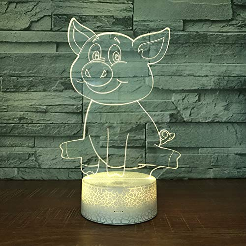 QAZEDC 3D nachtlampje Crake White Base Pig 3D LED-lamp 7 kleuren Burst Night Lamp voor kinderen Touch LED Usb Table Baby Slee Nightlight (Gratis verzending)