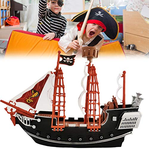 WIIBST Childrens Kids Pretend Play Pirate Ship Play Cannon Treaure Pirate Figures Toy Friends Pirate Ship Adventure Building Kit With Figures + Sails + Crow's Nest
