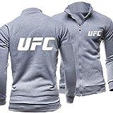 CSHASHA Chaqueta para Hombre Sudadera con Cremallera - Chaquetas De Moda Impresas UFC Casual Unisex Manga Larga Sudaderas Uniforme De Béisbol - Adolescente Regalo Gray-Large
