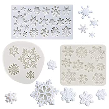 Set of 3  Winter Snowflake Fondant Molds Christmas Snowflake Silicone Sugarcraft Gum Paste Mold for Cake Cupcake Topper Decoration Chocolate Candy Polymer Clay Resin Mold Frozen Party Supplies