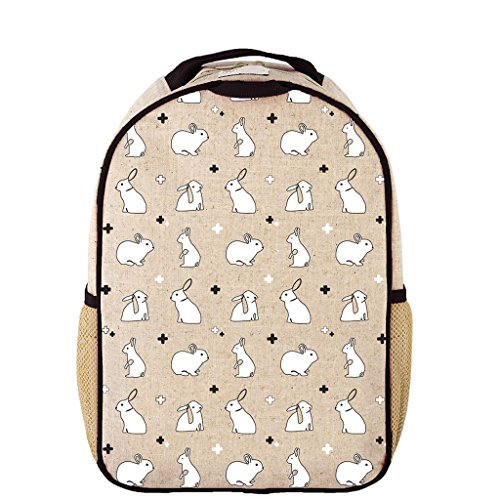 Price comparison product image SoYoung Toddler Backpack - Raw Linen,  Eco-Friendly,  Non-Toxic,  Retro-Inspired Design - Bunny Tile